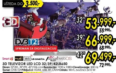 """Televizor LED 42"""" 3D 42lb650"""