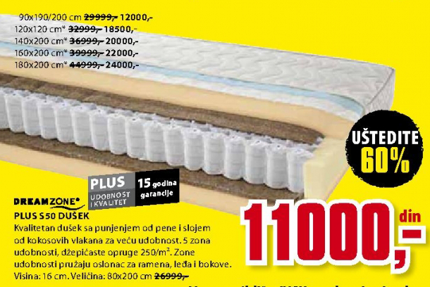 Dušek Plus S50 90x190/200 cm