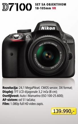 Digitalni fotoaparat D7100 sa objektivom 18-105mm VR