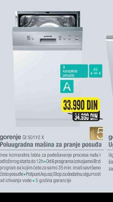 akcija tehnomanija gorenje ugradna sudoma ina gi 50110 x. Black Bedroom Furniture Sets. Home Design Ideas