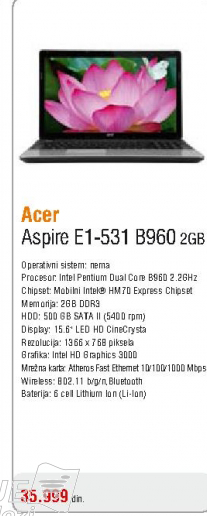 Laptop AspireE1-531-B960