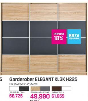 Garderober Elegant KL3K H225, sonoma hrast/siva