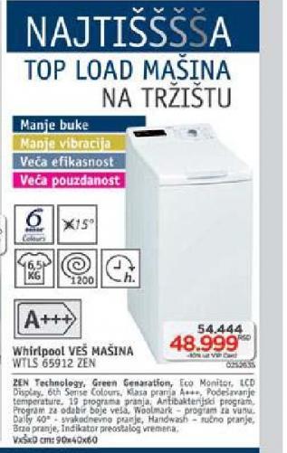 Mašina Za Veš WTLS 65912 ZEN