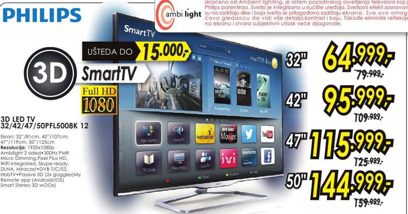 3D televizor LED LCD 50PFL5008K/12