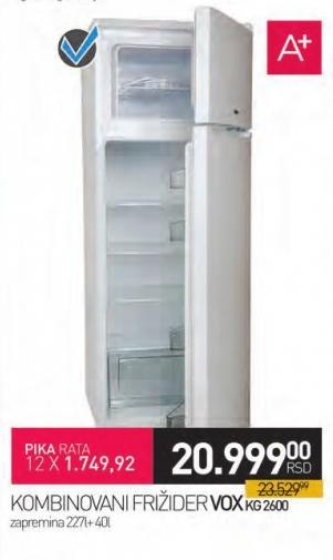 Kombinovani frižider Kg2600