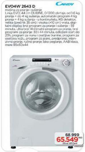 Mašina za pranje i sušenje veša Evo4w 2643 d