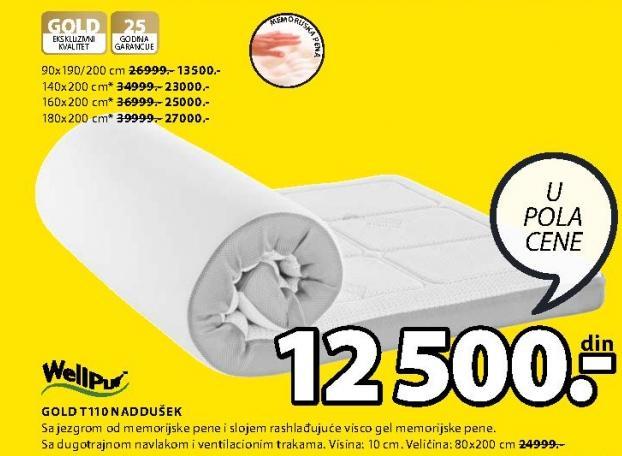 Naddušek Gold T110 90x190/200cm