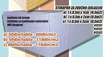 Stiropor za zvučnu izolaciju 1cm