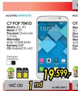 Telefon One Touch Pop C7 OT-7041D