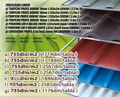 Profilisani lim Crveni 1,135x3m