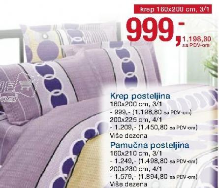 Krep posteljina 160x200 3/1