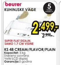 Kuhinjska Vaga Ks48 cream, flavor i plain