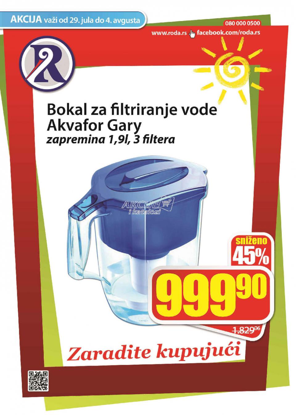 Bokal za filtriranje vode Akvafor Gary