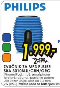 Zvučnik za mp3 plejer SBA 3010BLU