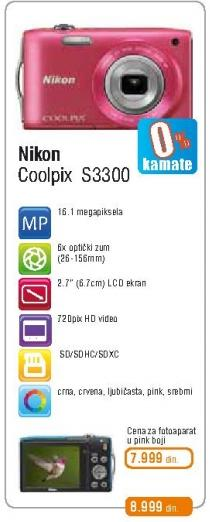 Digitalni fotoaparat Coolpix S3300 Pink