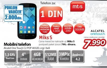 Mobilni telefon One Touch C2 Pop 4032d crni i beli