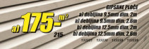 Gipsane ploče 9,5mm/2,6m