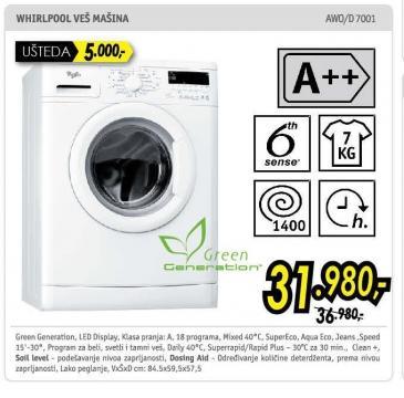 Mašina za pranje veša AW0/D7001