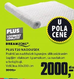 Naddušek Plus T20, 180x200 cm