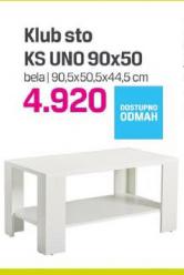 Klub sto KS Uno 90x50, bela