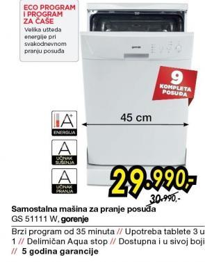 Mašina za pranje sudova GS51111W