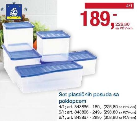Set plastičnih kutija sa poklopcem 4/1