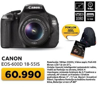 Digitalni fotoaparat Eos-600d 1855Is + Poklon ranac i knjiga