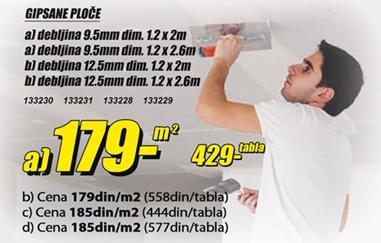 Gipsane ploče 9.5mm/1.2x2.6m