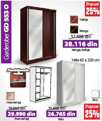 Garderober GD 553 O hrast-bež sjaj