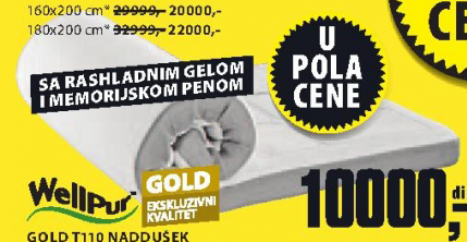 Naddušek Gold T110, 180x200cm