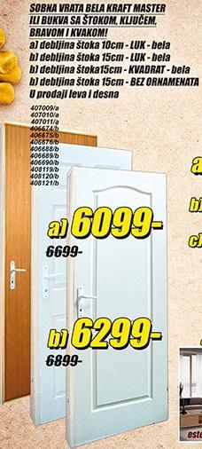 Sobna vrata Kraft Master štok 10cm Luk Bela