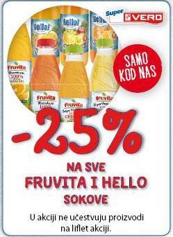 -25% na sve Fruvita i Hello sokove