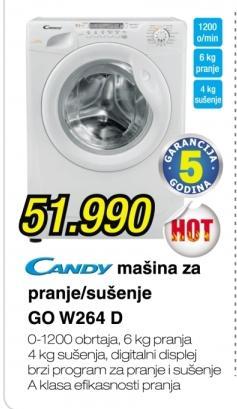 Mašina za pranje i sušenje veša Go W264 D