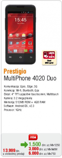 Mobilni Telefon Multiphone 4020 Duo