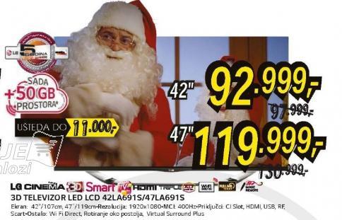 Televizor 3D LED LCD 47LA691S