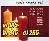 Sveće Crvene i Bež 70x150