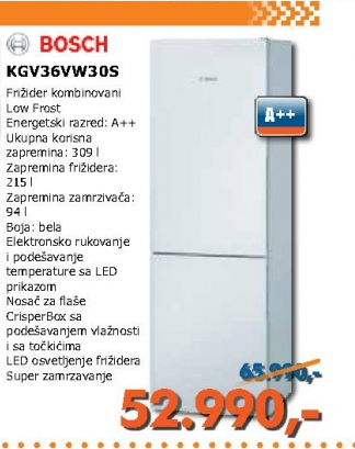 Kgv36Vw30S, Beli Kombinovani Frižider