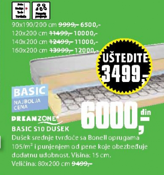 Dušec Basic S10, 120x200cm