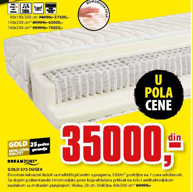 Dušek, Gold S70 90x190/200 cm