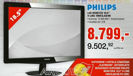 "LED Monitor 18.5"" V-Line 196V3LAB/00"