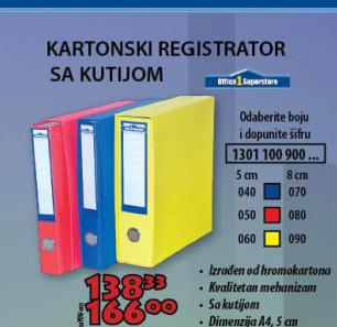 Kartonski registrator sa kutijom