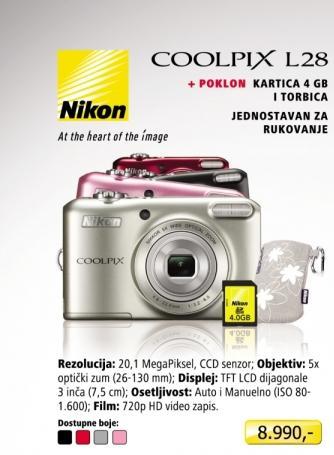 Digitalni fotoaparat Coolpix L28 + Poklon SD kartica 4GB i Torbica