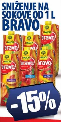 Sniženje na sokove Bravo 1L