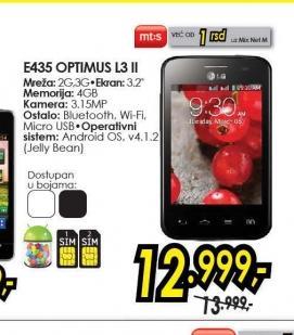 Mobilni telefon Optimus L3 II Dual E435 BK
