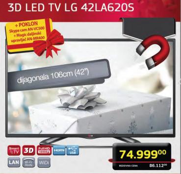 Televizor 3D LED LCD 42LA620S