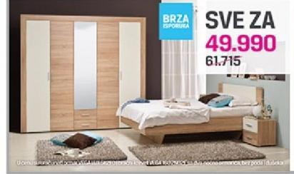 Ormar Vega Lux 5K2F0 i bračni krevet VEGA 160 2N02F