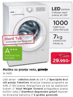 Mašina za pranje veša W7403