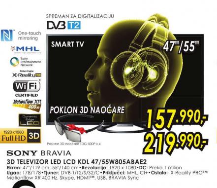 Televizor 3D LED LCD KDL-55W805ABAE2