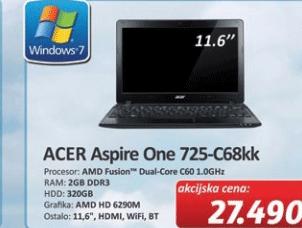 Notebook Aspire One 725-C68kk
