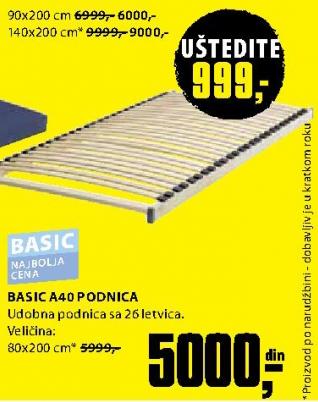Podnica, Basic A40 90x200 cm